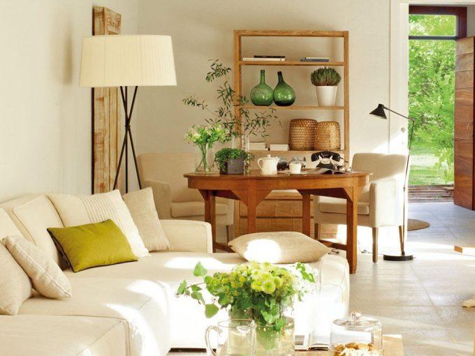 Mẫu phòng khách đẹp hiện đại với nhiều mảng xanh