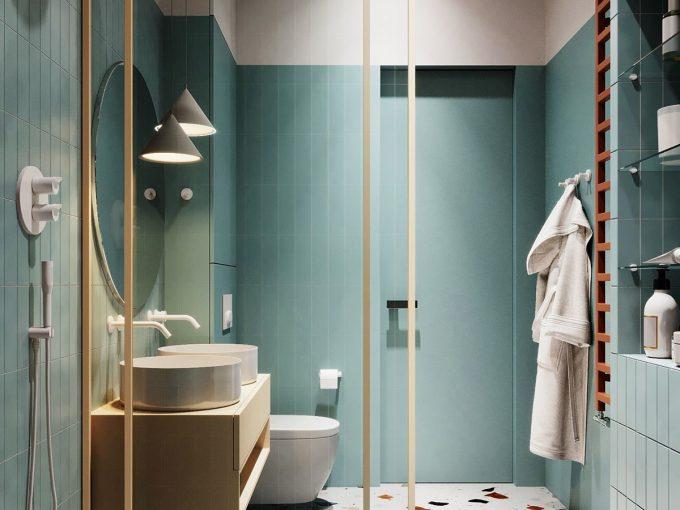 Mẫu nhà tắm đẹp tông xanh dịu mát