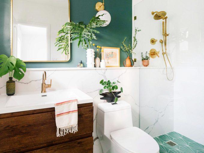 Tô điểm sắc xanh cho phòng tắm đầy sức sống